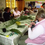 Making Palm Crosses to send to companion diocese